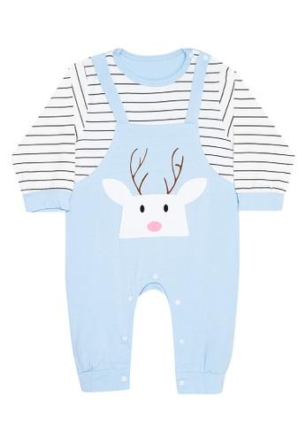 MICK + MARTY blue Reindeer Design Onesie C828DKAFE74F4AGS_1