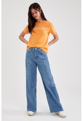 DeFacto orange Woman Knitted Short Sleeve T-Shirt 409DEAA68B7DE9GS_1
