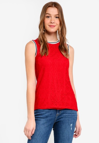 Dorothy Perkins 紅色 Red Rib Lace Shell Top DF4D9AAF46E83DGS_1