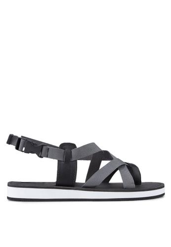 ZALORA grey Contemporary Multiple Strap Urban Sandals 52EFESHAB4C8CFGS_1
