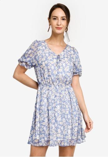Hopeshow blue V-Neck Slim Waist Floral Chiffon Mini Dress C2F33AA32D3271GS_1