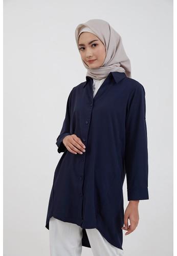 Hijabenka blue Sephia Fika Plain Shirt Navy CAD34AACD9BFCAGS_1