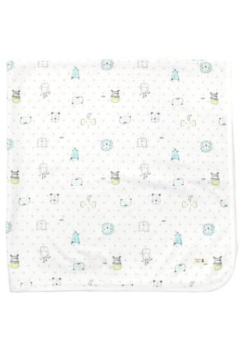 Organic mom white Animal Kingdom Swaddling Blanket (SUMMER) 7731DKC7D1712DGS_1