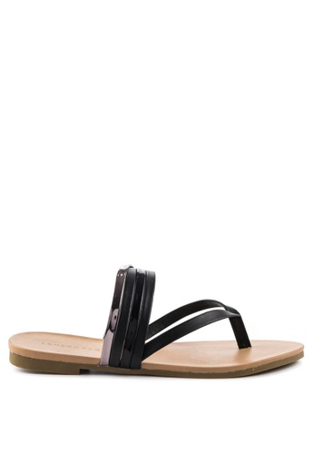 London Rag black Sofia Toe Post Flat Sandals F9116SHC680DD5GS_1