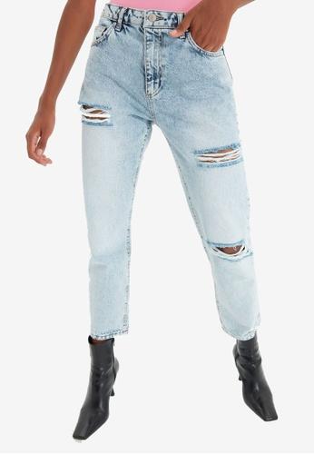 Trendyol blue High Waist Ripped Mom Jeans 2E98CAAB2B9E78GS_1