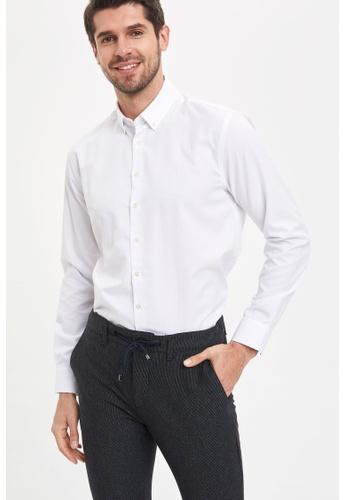 DeFacto white Man Woven Top Long Sleeve Shirt 141B5AA9B16339GS_1