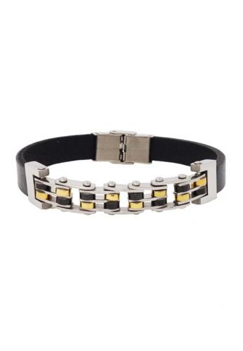 Jaysa Collection black Stainless Steel Men's Dual Color Link Bracelet JA875AC58ZRXSG_1
