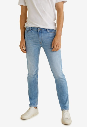 Mango Man 藍色 Slim-Fit Light Wash Tim Jeans 7B383AA17702D0GS_1