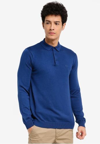 River Island blue Long Sleeve Jumper Ashcoft Polo Shirt BD75DAAA9B406CGS_1