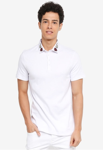 River Island white Embroidery Collar Polo Shirt 59E50AA1DC2955GS_1
