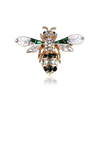 Glamorousky white Fashion Simple Plated Gold White Bee Brooch with Cubic Zirconia 7DCB8ACEE000B2GS_1