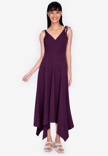 ZALORA BASICS purple Asymmetric Midi Dress 5B565AA5814929GS_1