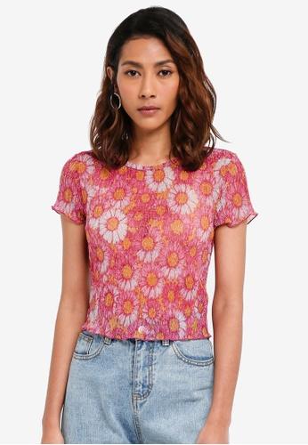 TOPSHOP pink Short Sleeve Daisy Lurex T-Shirt F1FB3AAFEA6741GS_1