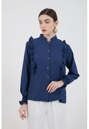 Berrybenka Label blue Sophie Murya Longsleeve Blouse Navy 173F0AA6142896GS_1
