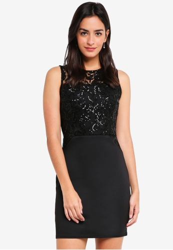 Dorothy Perkins 黑色 Sequin Lace Top Bodycon Dress 1E1DFAA273B50BGS_1