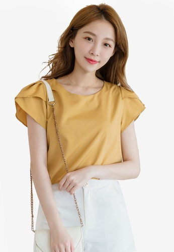 Eyescream yellow Petal Sleeve Top FA13FAA97AC817GS_1