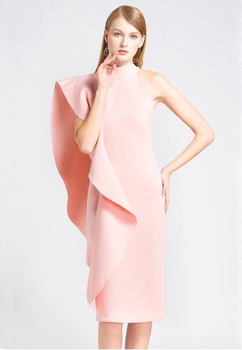 Urban Outlier pink One Shoulder Ruffled Dress 114B5AA8C0F57EGS_1
