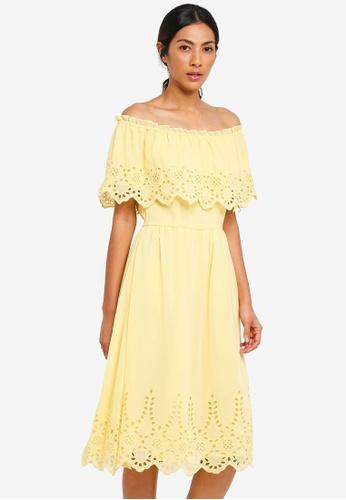 Dorothy Perkins yellow Cutwork Bardot Midi Dress 55B41AA06918B5GS_1