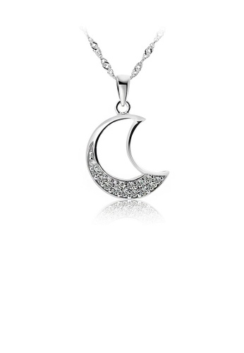 Glamorousky silver White Gold Plated 925 Sterling Silver Moon Pendant with White Cubic Zirconia and 45cm Necklace 80964AC5BF2DFFGS_1