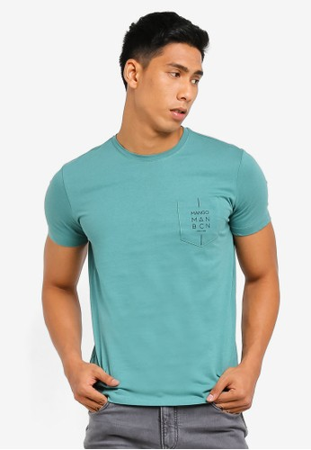 MANGO Man green Logo Cotton T-Shirt 19138AA731869CGS_1