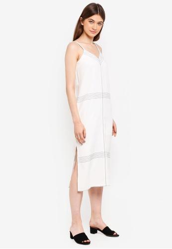 Something Borrowed white Contrast Stitching Midi Dress 505B3AAA869518GS_1