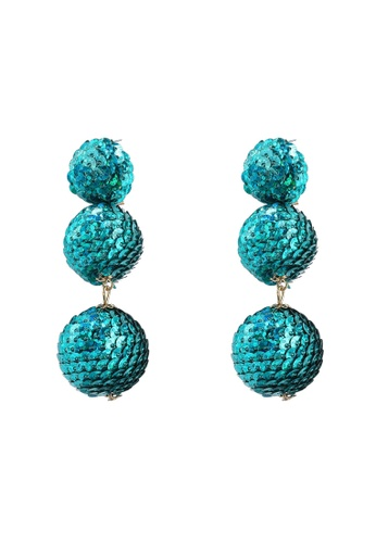 Red's Revenge green Tiered Sequin Balls Statement Earrings 57A13AC44C30CFGS_1