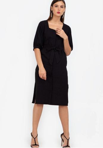 ZALORA WORK black Puff Sleeve Square Neck Midi Dress 8C61DAA97C86D1GS_1