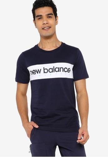New Balance navy Athletics Linear Tee CE040AA02EDADCGS_1