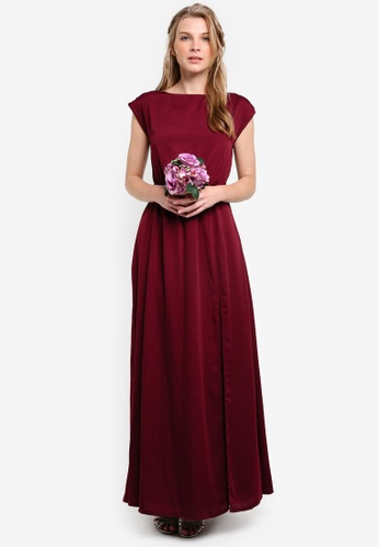 ZALORA red Bridesmaid Maxi Dress With Embellished Waistband EC71FAAC9BB465GS_1