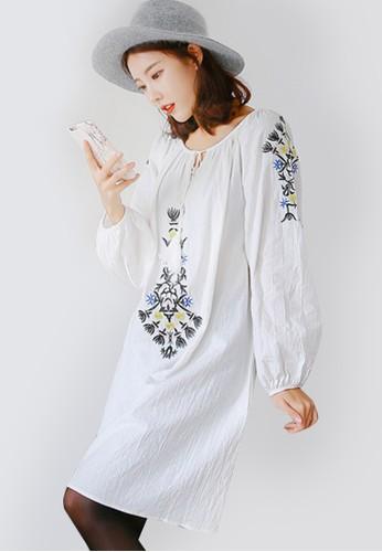 Sesura white Poofy Boho Tunic Dress SE113AA59OAMPH_1
