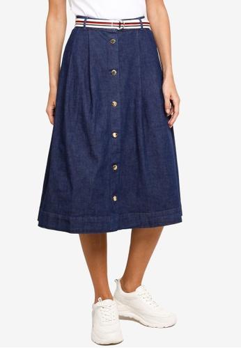 Tommy Hilfiger blue Tam Midi Skirt E9ACBAAE3485C1GS_1