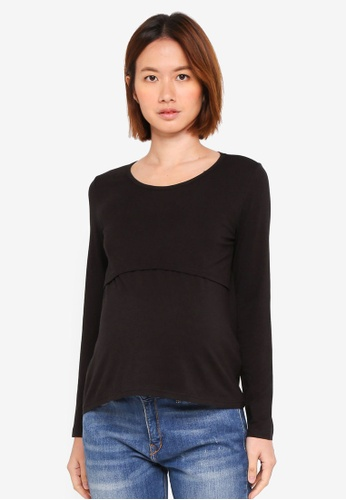 Bove by Spring Maternity black Knitted Belva Long Sleeved Round Neck Tee Black E6525AAFE2B932GS_1