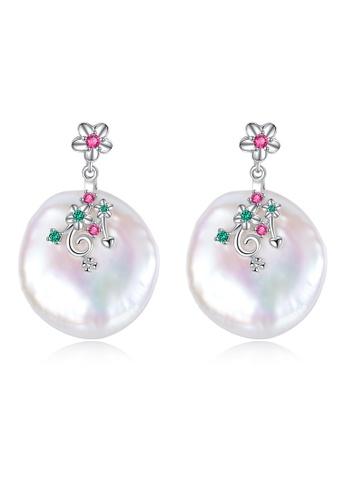SUNRAIS silver Premium colored stone silver flower earrings 95012ACD612C72GS_1