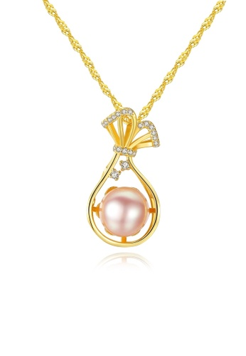 A.Excellence pink Premium Pink 18K Pearl Elegant Necklace 9B211ACCB56262GS_1