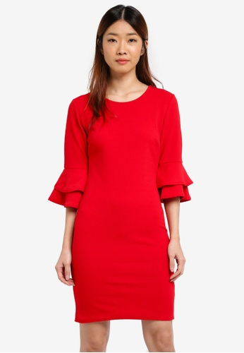 Dorothy Perkins red Flute Sleeve Bodycon Dress 4274EAACF586C9GS_1