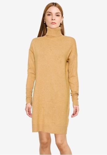 Vero Moda brown Brilliant Rollneck Dress DD471AA0A8BE01GS_1