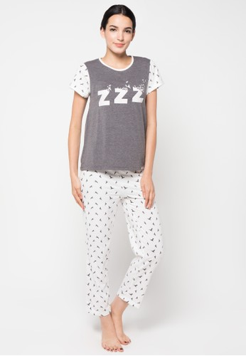 PUPPY white and grey Short Sleeve Long Pants PU643AA29SDEID_1