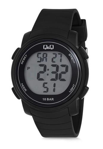 Q&Q black Q&Q QNQ QQ Original Watch Jam Tangan Pria Digital Tali Karet Hitam M122J011Y 1491AACF01F5C2GS_1