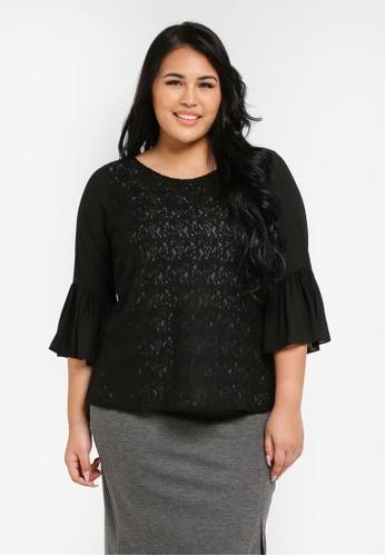 Ex'otico black Plus Size 3/4 Flare Sleeve Lace Blouse EX373AA0SL87MY_1
