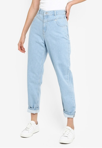 b5ba04456 Miss Selfridge blue Light Blue High Waist Seam Mom Jeans 44D5DAA38A797AGS_1