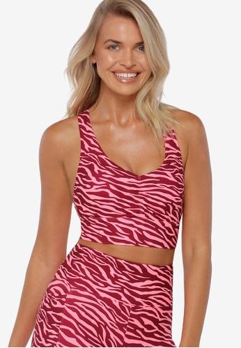 Lorna Jane pink Scrunched Front Zebra Sports Bra 39805US723C60EGS_1
