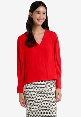 Mango red Puffed Sleeves Blouse MA193AA0RAVGMY_1