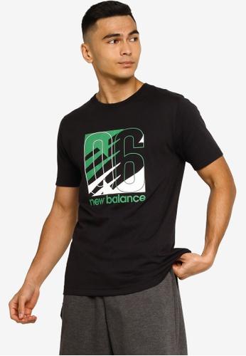 New Balance black NB Classic Prong Tee 6DE14AA7F74853GS_1