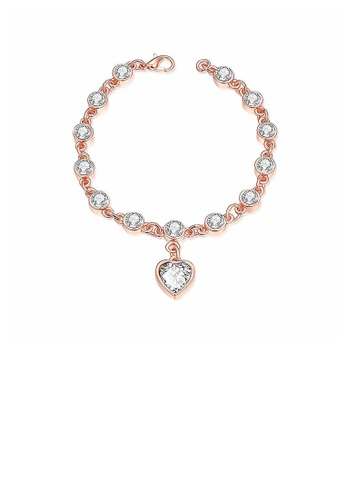 Glamorousky white Fashion Rose Goldplated Heart-shaped Bracelet with White Cubic Zircon D78B2AC9688E36GS_1