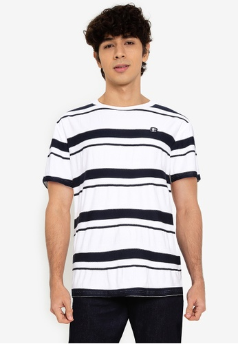 Ben Sherman white Textured Stripe Tee 01CE0AAEE09B20GS_1