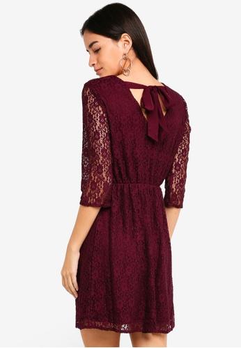Vero Moda red Stella Lace Short Dress 78E2DAAAAC34D0GS_1