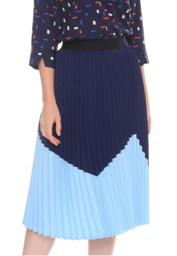 Paperdolls navy Dallas Pleated Skirt 0227FAAA79B423GS_1