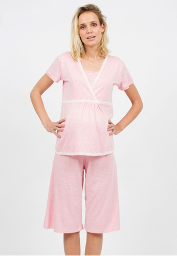 Bove by Spring Maternity pink Knitted Short Sleeves Jessie Nursing Pyjamas LNS802 SP010AA70ODHSG_1