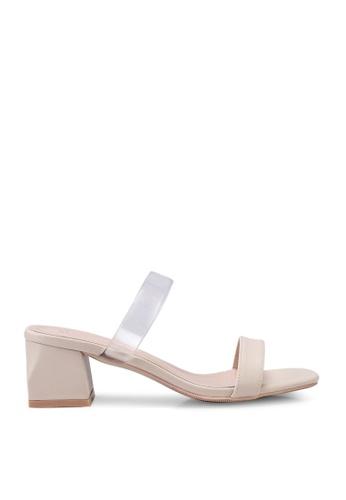 Kimmijim 米褐色 Katlyn Double Strap Block Heels CDDD3SH2C89298GS_1