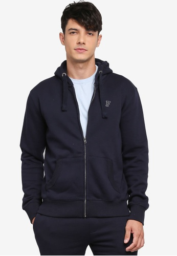 French Connection blue Classic Zip-Through Sweatshirt 41689AAC992278GS_1